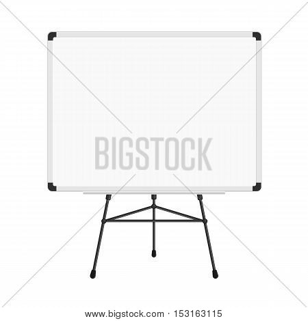 Whiteboard on a tripod. Billboard and business, education and empty space illustration. 3d render of blank presentation or projector roller screen isolated on white.