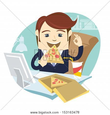 Funny Business Man Eating Pizza At His Office Work Place With Ok Sign. Flat Style