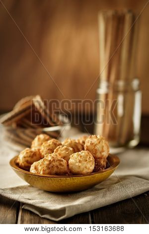Still life with cookies in rustic style