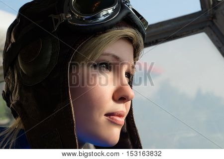 portrait beautiful woman pilot in aviator helmet with goggles