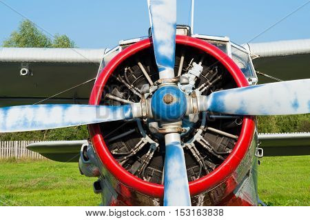 plane with propeller close up outdoors summer