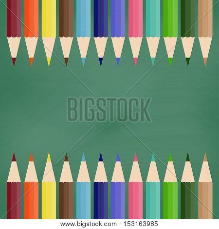 School blackboard and color pencils. Vector illustration