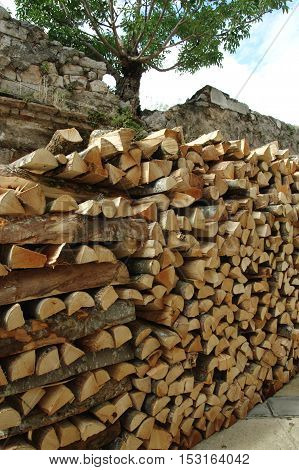 Senj Croatia: a small town in northern Croatia located on the Adriatic coast. Firewood for the winter gathered in front of the house.