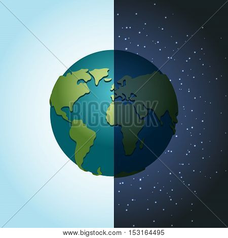 Earth Night And Day. Nighttime Planet In Space. Lot Of Stars In Galaxy. Astronomy Illustration