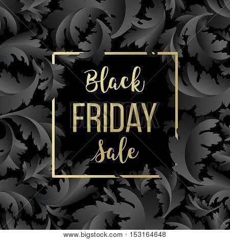 Golden Black Friday sale lettering background. Template for your design, invitation, flyer, card, gift, voucher, certificate and poster. Vector illustration