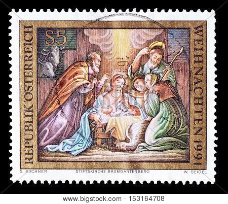 AUSTRIA - CIRCA 1991 : Cancelled postage stamp printed by Austria, that shows Christmas.