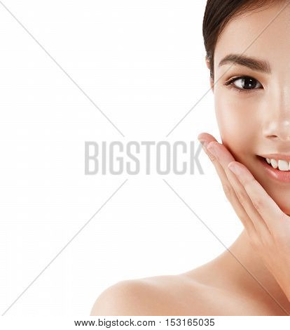 Glamour Portrait Of Beautiful Woman Half-face Model With Fresh Daily Makeup Healthy Skin Concept
