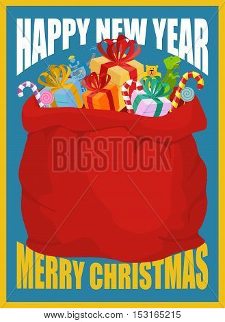Happy New Year Retro Card. Bag Of Santa Claus With Gifts. Full Sack Of Presents. Merry Christmas Toy