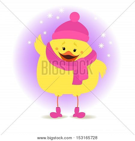 Chicken girl in winter clothes on the winter background. Christmas vector illustration