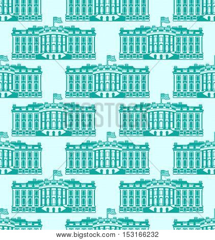 White House America Seamless Pattern. Us President Residence. Government Building Usa Ornament. Poli