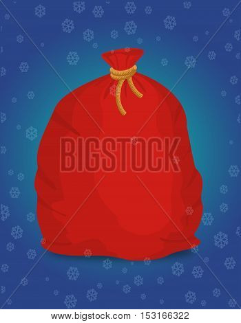 Red Sack Santa Claus. Large Holiday Bag For Gifts. Big Bagful For New Year And Christmas