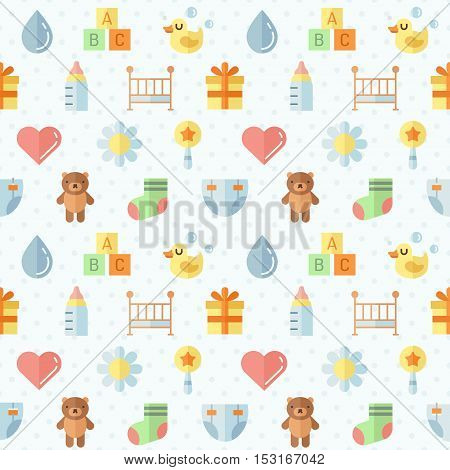 Baby (girl and boy) stuff flat multicolored cute vector seamless pattern. Modern minimal design. Part two.