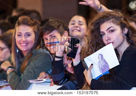 Rome Italy - October 20, 2016. American actress Meryl Streep followers waiting impatiently step on the red carpet of their idol at the Rome Film Festival.