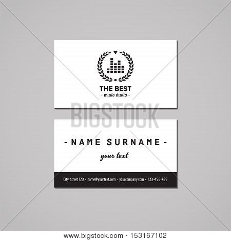 Music studio business card design concept. Logo with musical visualization and wreath. Vintage hipster and retro style.