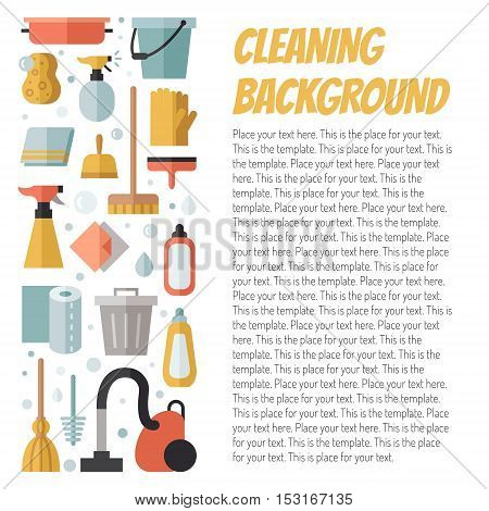 Cleaning flat multicolored vertical vector illustration with place for your text. Modern minimal design.