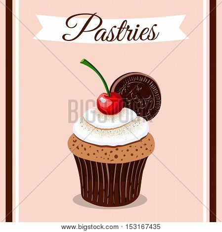 Hand drawn cupcake with cherry, cream and cookie. Vector illustration. Can be used for design of bakery or for cafe.