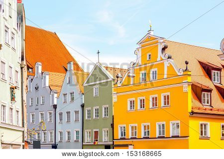 Colorful bavarian houses in the old town of Landshut city, Germany