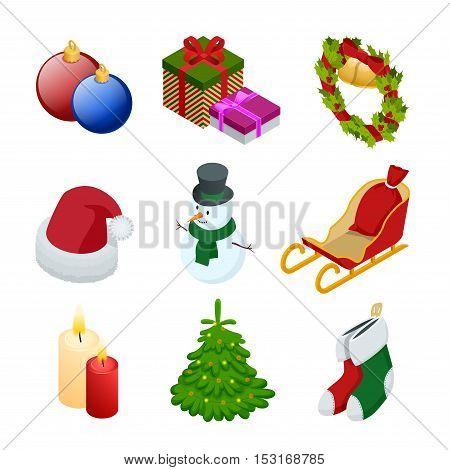 Isometric xmas elements gift, christmas tree, new year, christmas, snowman, Christmas toy, garland, candle Santa hats gift socks