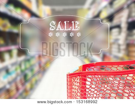 abstract supermarket cart and shelfs with sale text on blured background