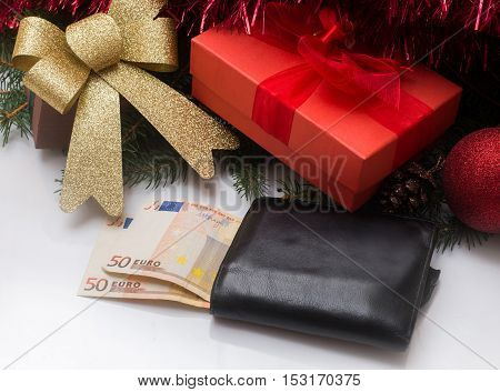 Christmas Gift Box  And Wallet With Euro Money On White Background
