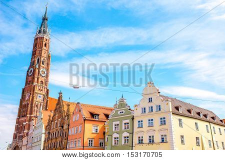 Cityscape view with saint Martin cathedral in the center of Landshut old town in Germany