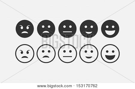 Abstract flat style feedback emoji icon set