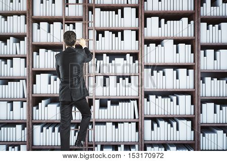 Back view of businessman climbing library ladder. Knowledge concept. 3D Rendering