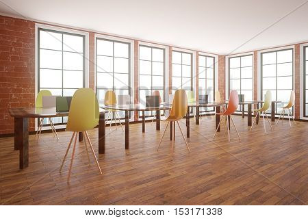 Red brick interior with wooden floor windows with city view and tables with chairs. Classroom concept. Side view 3D Rendering