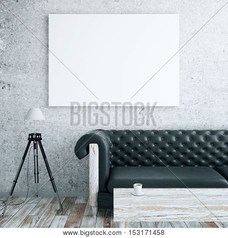 Front view of interior with blank billboard leather couch floor lamp and wooden coffee table. Mock up 3D Rendering