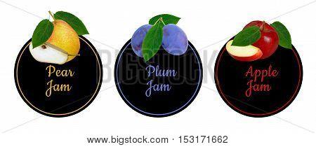 Set of labels for fruit jam. Pear, plum, apple fruit set.