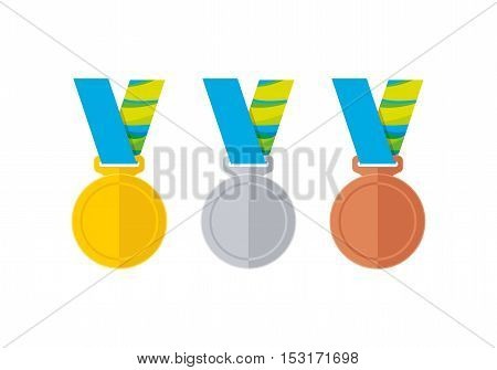 Abstract flat style medal icons vector collection