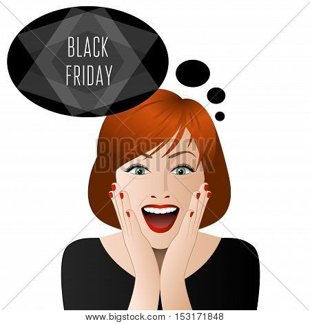 Surprised woman in black friday isolated on white background. Vector illustration