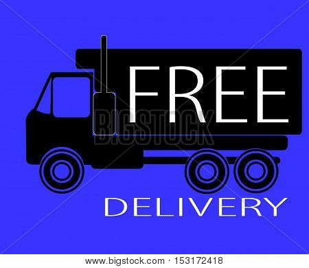 black truck with white lettering free delivery on a blue background