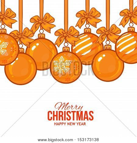 Gold Christmas balls with ribbon and bows, vector greeting card template. Set of gold Christmas decoration balls, solid, striped and with a snowflake, New Year greeting card template