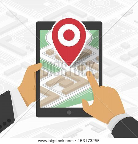 Hand holding tablet PC with Gps Navigation. Mobile Gps Navigation with map and icon. GPS navigation concept. Concept mobile Gps Navigation vector illustration. Mobile Gps Navigation technologies.