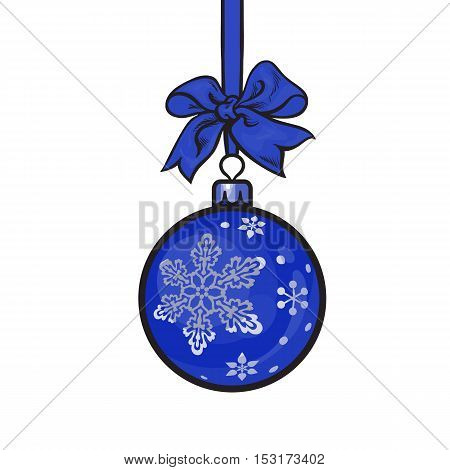 Blue Christmas ball with ribbon and bow, sketch style vector illustration isolated on white background. Shiny Christmas decoration ball of solid blue color and snowflake ornament