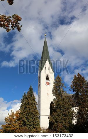 Church called Pfarrkirche St. Johannes Baptist in Oberstdorf. Bavaria. Germany