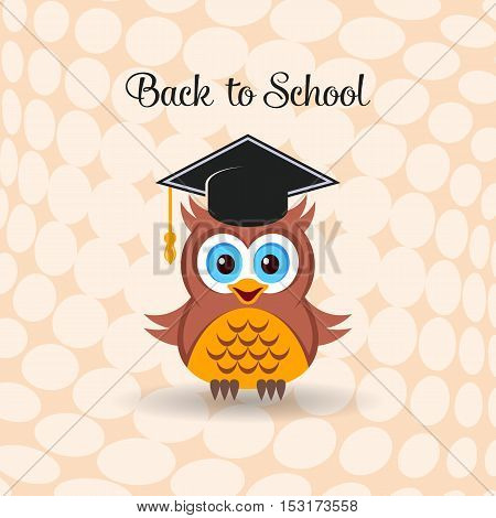 Cute owl with graduation hat back to school