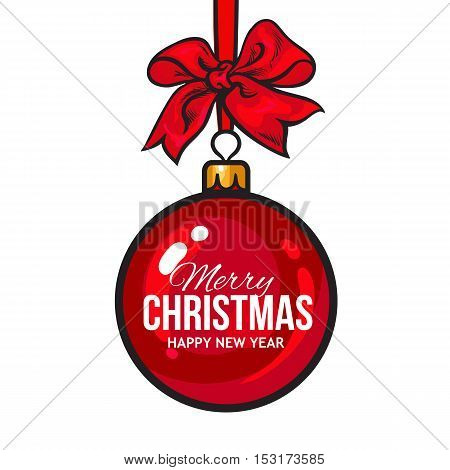 Christmas ball with red ribbon and bow, vector greeting card template with white background. Shiny Christmas decoration ball of solid red color, greeting card template for Christmas and New Year Eve