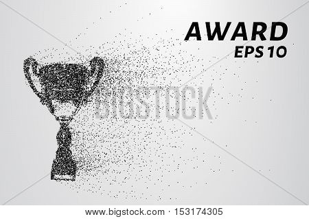 The award of the particles. Sports trophy consists of circles and points.