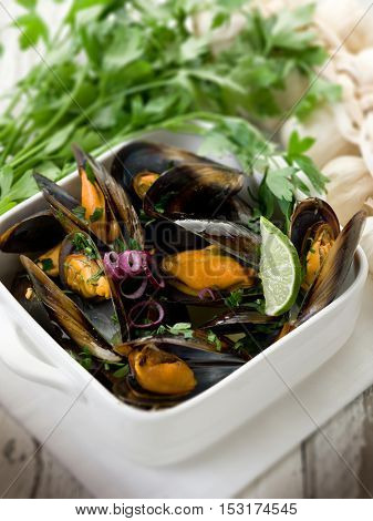 mussel soup on bowl with parsley and garlic, selective focus