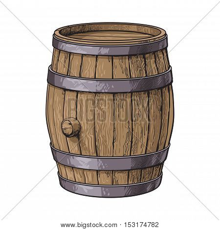 Side view of standing wooden barrel, sketch style vector illustrations isolated on white background. Wine, rum, beer classical wooden barrel, hand-drawn vector illustration, side view