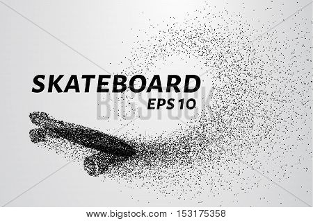 Skateboard of particles. Skateboard shatters into small circles and dots.