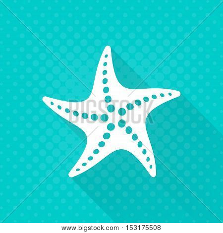 White vector starfish simple flat icon turquoise background