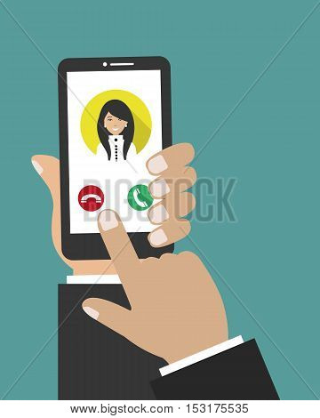 Hand holding phone icon. Vector illustration. There is woman's photo on the display of the smartphone in the picture