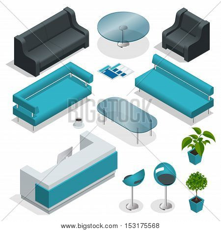 VIP office furniture collection with tables, chairs, plants. Isometric icon set vector graphic illustration.