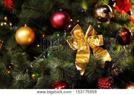 background with Christmas tree, Christmas decorations and Christmas lights