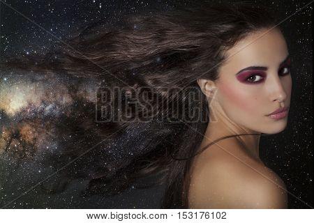 beautiful fantasy woman among stars composite photography