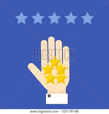 Positive review. Hand showing five stars on blue background. Rating evaluation vector symbol. Customer review design template.  Five star business icon.  Likes, approval, feedback sign.