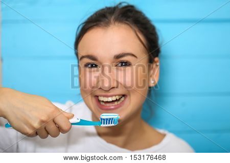 Girl With Toothbrush And Toothpaste